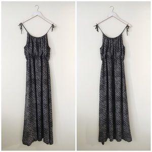 Theory Tylie Maxi Dress with Ties Black Silk